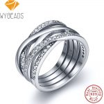 WYBEADS 925 Sterling Silver Entwined Rings With Clear Cubic Zirconia Finger Ring For Women Wedding Engagement <b>Fashion</b> <b>Jewelry</b>