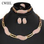 CWEEL Dubai Indian Nigerian Wedding <b>Jewelry</b> Sets For Women Link Chain African Beads <b>Jewelry</b> Set Imitation Crystal Jewellery Set