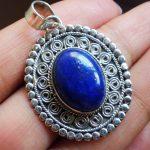 Nepal India silver <b>handmade</b> <b>jewelry</b> inlaid with Lapis Lazuli natural crystal precious retro carved pendants