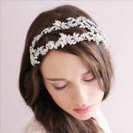 Gorgeous Western Styles Two Rows Silver Clear Crystal Leaf <b>Wedding</b> Headband Bridal Tiara hair accessories Women <b>Jewelry</b>