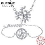 ELESHE 925 Sterling Silver Micro Rhinestone Family Tree of Life <b>Jewelry</b> Sets Chain Link <b>Necklace</b>&Bracelet For Women <b>Jewelry</b>