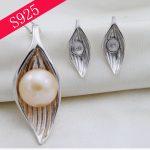925 Silver Pendant Earrings 2 sets Pearl diy Accessories Leaves Shape Oyster Pearl <b>Jewelry</b> <b>Making</b>