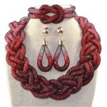 Direct selling <b>fashionable</b> handmade five shares rope chain and red transparent crystal african beads <b>jewelry</b> sets