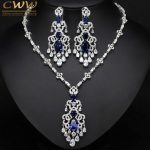 CWWZircons Top Quality Royal Blue Cubic Zirconia African Big Statement Earring Necklace Set For Women Evening Party <b>Jewelry</b> T276