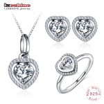 LZESHINE Romantic 925 Sterling <b>Silver</b> Wedding Jewelry For Women Sparkling CZ Heart Shape Necklace/Ring/Stud <b>Earrings</b> Sets Gift