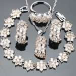 Wedding Zirconia <b>Silver</b> 925 Costume Bridal Jewelry Sets Stones Earrings For Women Rings <b>Bracelet</b> Necklace Pendant Set Gift Box