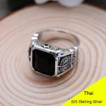925 Sterling <b>Silver</b> Retro Crown Black Agate Crown Ring Men Thai <b>Silver</b> Fine <b>Jewelry</b> Gift Large Heavy Finger Ring CH054263