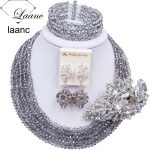 Laanc <b>Handmade</b> Grey Gray Crystal Beaded Necklace Nigerian Wedding African Beads <b>Jewelry</b> Set for Women 5DS018
