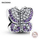 Genuine Stunning 925 Sterling Silver Sparkling Butterfly Purple CZ Animal Charm Fit pandora Bracelet bead DIY <b>Jewelry</b> <b>Making</b>