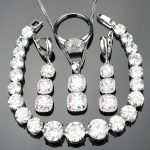 White Zircon 925 Sterling Silver <b>Jewelry</b> Sets Bridal Women Earrings With Stones Bracelets Pendants&<b>Necklaces</b> Rings Set Gift Box