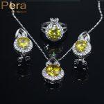 Pera New Design Bridemaid Wedding <b>Accessories</b> 3 Pcs Yellow Austrian Crystal 925 Sterling Silver <b>Jewelry</b> Sets For Women J002