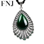 925 <b>Silver</b> Peacock Pendant Natural Green Stone 100% Pure S925 Solid Thai <b>Silver</b> Pendants for Women <b>Jewelry</b> Making