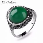K's Gadgets Bohemia Green Opal Ring For Women <b>Antique</b> Silver color Zircon Red Corundum yellow Resin Stone Ring Fashion <b>Jewelry</b>