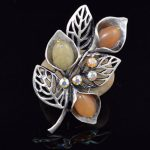 K's Gadgets Brooches & Pins Vintage Green/Brown Natural Stone Colorful Rhinestone Channel Brooch <b>Antique</b> Silver <b>Jewelry</b>