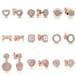 9 Style 1 Pair Women Ear Studs Rose Gold Color Bowknot Heart Crystal Diy Earrings High Quality Earring Women <b>Wedding</b> <b>Jewelry</b>