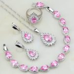Fire Pink Cubic Zirconia White Zircon Bridal 925 <b>Silver</b> Jewelry Sets For Women Wedding Earring/Pendant/Necklace/<b>Bracelet</b>/Ring