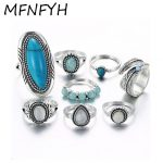 MFNFYH Punk Vintage Geometric Stone Midi Rings Bohemian <b>Antique</b> Silver Color Leaf Knuckle Ring Set Gifts for Women Boho <b>Jewelry</b>