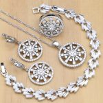 925 <b>Silver</b> Jewelry Sets White Crystal Stone Beads Decorations For Women 4PCS 925 Sterling <b>Silver</b> Wedding jewellry Necklace Set