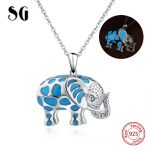 SG new arrival cute animal elephant glowing chain necklace&pendant 925 sterling silver diy fashion <b>jewelry</b> <b>making</b> for women gift