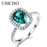 UMCHO Green Nano Emerald Ring Genuine Solid 925 Sterling <b>Silver</b> Rings For Women Water Drop Vintage Birthstone Fine <b>Jewelry</b>