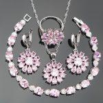 Pink Stones Silver 925 <b>Wedding</b> Costume <b>Jewelry</b> Sets Women Bracelets/Earrings/Pendant/Necklace/Rings Christmas Jewelery Gift Box