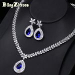 BlingZircons Brand New Big Water Drop Royal Blue Zirconia Stone Earrings <b>Necklace</b> Bridal Wedding <b>Jewelry</b> Sets For Women JS032