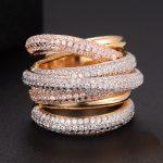 GODKI Monaco Designer Luxury Twist Lines Geometry Cubic Zironium Engagement Dubai Naija Bridal Finger Rings <b>Jewelry</b> Addiction