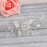 Jonnafe <b>Fashion</b> Flower Leaf Bridal Hair Comb Pin Rhinestone Crystal Wedding Hair Combs Accessories Silver <b>Jewelry</b>