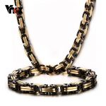 Vnox Thick Byzantium <b>Necklace</b> and Bracelet <b>Jewelry</b> Sets Stainless Steel Men's Chain Heavy Metal Punk