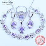 Wholesale Purple Cubic Zirconia 925 <b>Silver</b> Butterfly <b>Bracelets</b> Jewelry Sets For Women Pendants/Earrings/Rings/<b>Bracelets</b> Sets