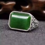 Natural green jasper Ring Natural jade Ring S925 <b>Sterling</b> <b>Silver</b> trendy luxurious big heavy Square men women's Party <b>Jewelry</b>