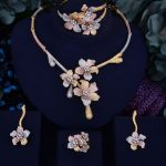 GODKI Flower Leaf Wreath Luxury 3 Tone Women Wedding Naija Bridal Cubic Zirconia <b>Necklace</b> Dubai Dress <b>Jewelry</b> Set
