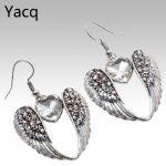 YACQ Wings Heart Dangle Drop Earrings <b>Antique</b> Silver Color W Crystal Women Girls Biker Bling <b>Jewelry</b> Gifts Dropshipping EC06