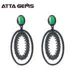 Natural Chrome Diopside Sterling <b>Silver</b> Drop <b>Earring</b> Women Fine Jewelry Natural Black Spinel Classic Design Women Wedding Earrig