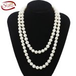 SNH 10-11mm off round AA- grade 100cm white freshwater pearl <b>necklace</b> long <b>necklace</b> for women
