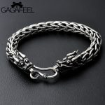 GAGAFEEL Punk Rock Double Dragon Head Men's <b>Bracelet</b> Vintage Thai Sterling <b>Silver</b> Male Jewelry 8MM 21 CM Retro Fashion Accesory