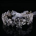 TUANMING Silver Hair <b>Jewelry</b> Leaves Tiara Hairband <b>Wedding</b> Bride Headbands Simulation Pearl Crystal Hair Accessories For Women