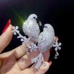 unisex brooch 925 <b>sterling</b> <b>silver</b> with cubic zircon double birds brooch pins fashion women men <b>jewelry</b> free shipping bling bling