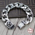 S925 Men's <b>bracelet</b> in Sterling <b>Silver</b> Personality trend domineering cross Punk style retro classic Send a gift to love