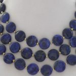 Charming coin blue 12mm lapis lazuli natural stone trendy beads diy hot sale necklace <b>jewelry</b> <b>making</b> 50 inch BV346