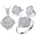 Big Sale Bridal Jewelry Sets Real White Gold Color Brand Set With SquareAAA Zircon <b>Necklaces</b> & Pendants/Earring/Ring