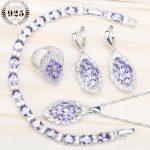 Purple Zircon 925 Sterling <b>Silver</b> Jewelry Sets Decorations For Women Stones Earrings Rings Pendant&Necklace <b>Bracelet</b> Gift Box