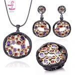 ZHE FAN AAA Zirconia <b>Jewelry</b> Set Women Luxury Black Gold Color 3 Pcs <b>Necklace</b> Earring Ring Party Valentines Day Gift Size 7 8 9