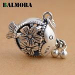 BALMORA Authentic 990 Pure Silver Cute Fish Hollow Flower Pendants Women Girl <b>Accessories</b> Lovely Gift Retro <b>Jewelry</b> SY13132