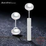 ANFASNI 100% Real 925 Sterling Silver <b>Wedding</b> Earring <b>Jewelry</b> Asymmetrical Luxury White Pearl Earrings Free Shipping CGSER0097-B