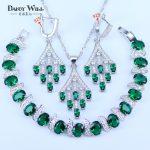 Dubai New Style Green/Purple/Colorful/Red/Blue Zircon White Crystal 925 Mark <b>Silver</b> Color Jewelry Sets <b>Bracelets</b> Pendant Earring