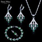 Royal Green Cubic Zircon 925 Logo <b>Silver</b> Color Jewelry Sets For Women Earring Pendant Necklace <b>Bracelet</b> Best Wedding Jewelry