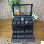 20-slot daul layer wooden struction leather dress <b>fashion</b> watch <b>jewelry</b> box case container organizer gift box black MSBH009C