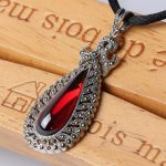 Red Ruby Pendant 925 <b>Sterling</b> <b>Silver</b> Ethnic Vintage Long Necklace Women's Fine <b>Jewelry</b> 23mm*56mm Pendants Necklaces Embroidery
