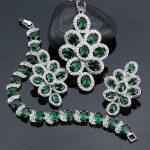New Green Cubic Zirconia White Rhinestone Jewelery 925 Sterling Silver <b>Jewelry</b> Sets For Women Necklace/Pendant/Earrings/Bracelet